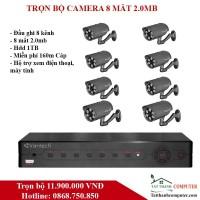 Combo KIT Vantech VP-8160AHDM 2 Camera 2.0 Megapixel + 1 Đầu ghi 8 kênh HD 1080P - Miễn phí lắp đặt