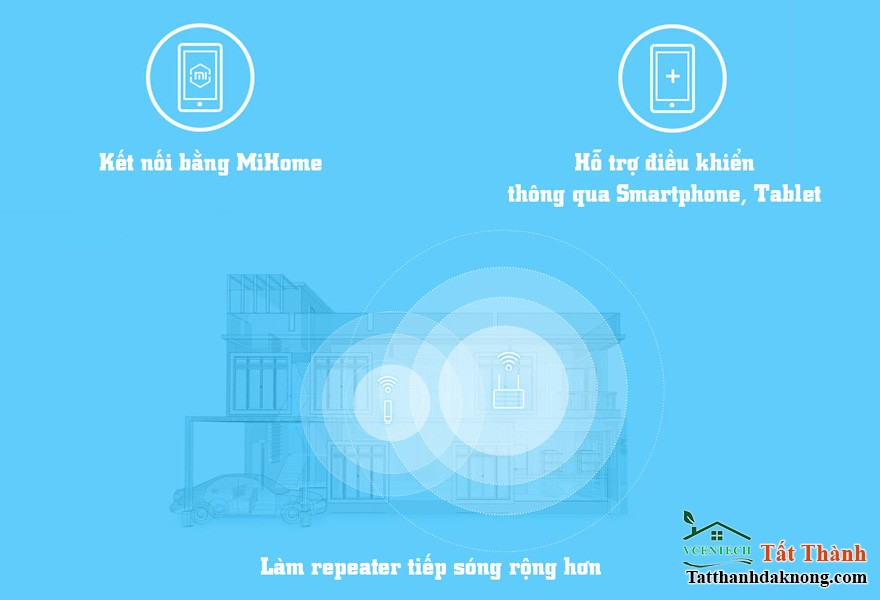 bo khuech dai song wifi xiaomi mi wifi repeater / amplifier: ket noi bang ung dung mihome